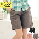 短褲--必備休閒褲頭內條紋設計素色抽繩反折短褲(黑.粉.咖綠M-7L)-R109眼圈熊中大尺碼◎