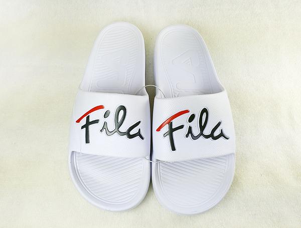 FILA 男女款戶外防水白色拖鞋-NO.4S326U123