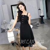 ✎﹏₯㎕ 米蘭shoe  夏季連衣裙新款韓版氣質一字肩露背單排扣修身中長款吊帶裙