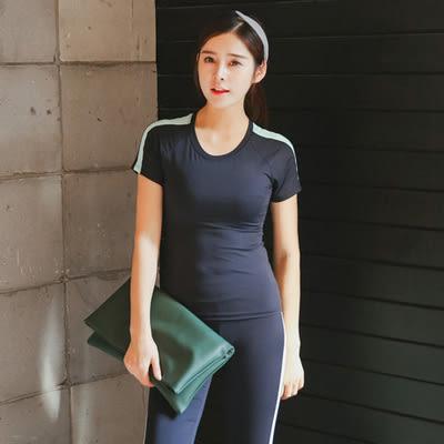 春夏新款瑜伽服套裝套女短袖背心休閒運動跑步健身喻咖服   -cmx0061