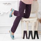 長褲--營造長腿妹-鬆緊褲頭中央壓線設計萊卡素面長褲(黑.灰.紫M-6L)-P49眼圈熊中大尺碼◎
