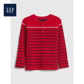 Gap男幼童柔軟雙面針織亨利式長袖T恤496449-正紅色