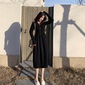 秋裝年新款收腰法式復古長袖小黑裙v領打底針織洋裝女秋冬 - 風尚3C