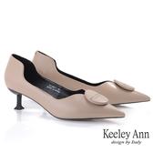 Keeley Ann極簡魅力 個性側空全真皮貓跟鞋(膚色) -Ann系列