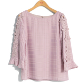 秋冬7折[H2O]格子雪紡袖拼接蕾絲花朵八分袖上衣 - 白/卡/粉色 #9635015