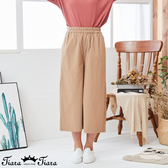 【Tiara Tiara】百貨同步新品aw 純色鬆緊腰七-八分褲(藍/卡其)