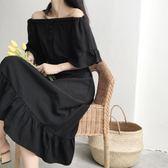 復古港味韓版一字領露肩短袖荷葉裙女高腰黑色中長款連衣裙子-黑色地帶