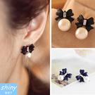 【20A98】shiny藍格子-獨特設計.甜美可愛蝴蝶結珍珠耳環
