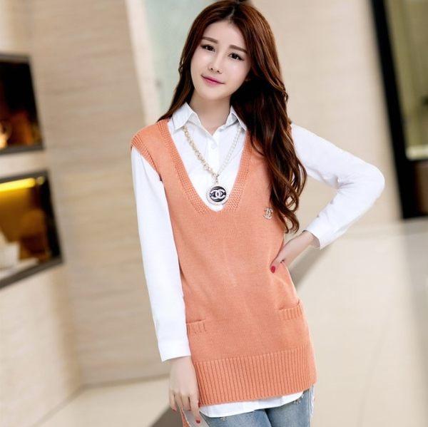 春裝新款V領針織衫背心外套中長款寬鬆無袖毛衣女潮韓版單件馬甲 免運