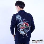 BIG TRAIN 扇紋金魚POLO長袖T-男-深藍