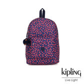 Kipling 古典茜紅小花前側拉鍊方形口袋後背包-ABENI