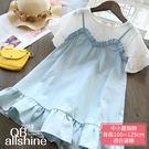 女童洋裝 甜美假兩件荷葉短袖連身裙 QB...