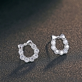 耳環 925純銀鑲鑽銀飾-蝴蝶結高雅生日情人節禮物女飾品73dy128[時尚巴黎]