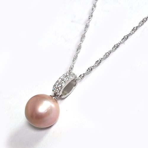 天然珍珠紫色圓珠與鋯石吊環純銀項鍊