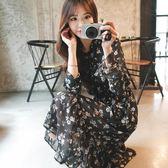 2018夏裝新款女雪紡碎花連衣裙中長款韓版收腰顯瘦長袖沙灘長裙子