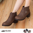 [Here Shoes]3色 嚴選熱賣皮革素面金屬扣環拉鍊低跟粗跟小短靴 工程靴 ◆MIT台灣製─KDTPW9358