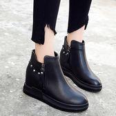 加絨冬鞋女2019新款內增高短靴韓版馬丁靴女英倫百搭平底靴子學生