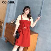 中大尺碼 假兩件 T恤拼接背心裙洋裝(附腰帶) - 適XL~4L《 67009L 》CC-GIRL
