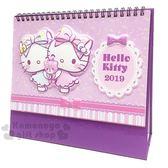 〔小禮堂〕Hello Kitty 2019 立體封面線圈式桌曆《L.紫.抱小熊》月曆.日曆.行事曆 4718598-72137