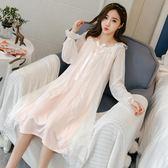睡衣睡裙女長款純棉長袖性感韓版清新學生可外穿甜美公主風 沸點奇跡