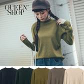Queen Shop【01012388】素面捲邊小高領針織上衣 五色售*現+預*