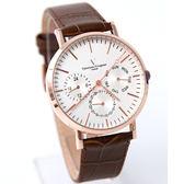 范倫鐵諾˙古柏 三眼皮革手錶【NEV41】原廠公司貨