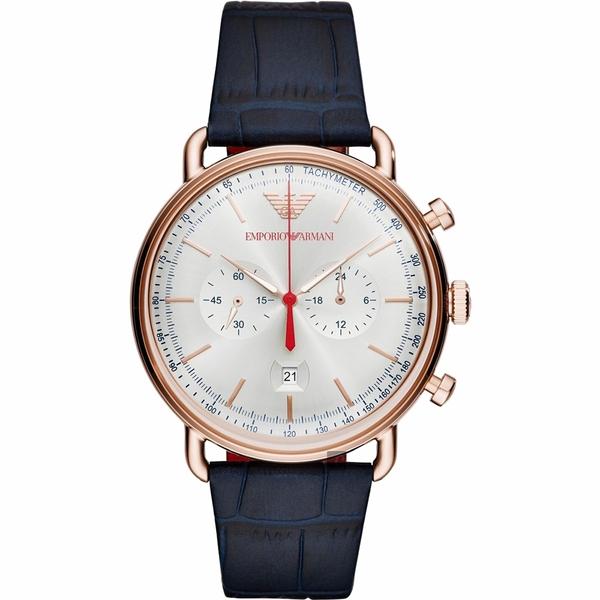 Emporio Armani Dress 亞曼尼計時手錶-銀x玫塊金框/43mm AR11123