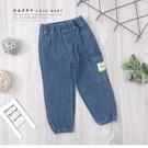 單側大口袋布標工作牛仔褲 長褲 丹寧 藍...