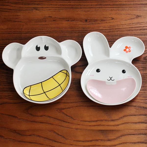 [超豐國際]猴子兔子陶瓷分格盤陶瓷餐盤 家用烘培烤盤水果盤子1入