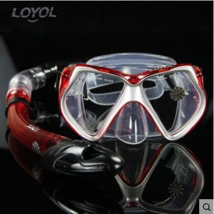 成人潛水鏡 浮潛三寶全乾式呼吸管套裝【銀紅M1526+S14套裝】
