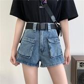 牛仔短褲 2020夏季新款大碼胖mm工裝牛仔短褲女高腰寬鬆顯瘦a字闊腿熱褲潮 交換禮物