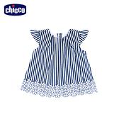 chicco-花瓣公主-直條花朵短袖洋裝