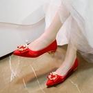 熱賣低跟鞋婚鞋女2021春季新款結婚鞋子新娘鞋孕婦平底粗跟低跟中式紅秀禾鞋 【618 狂歡】