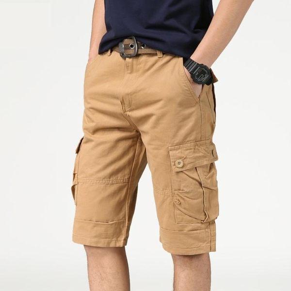 男工裝短褲多口袋休閒五分褲運動5分沙灘中褲寬鬆七分褲純棉薄款
