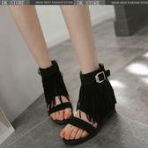 涼鞋 韓版 羅馬鞋 休閑舒適內增高坡跟流蘇涼靴DK STORE