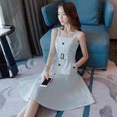 泡袖洋裝吊帶洋裝女夏天新款性感氣質小個子白色一字肩小泡袖洋裝裙子 【ifashion·全店免運】