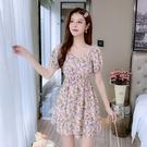 VK精品服飾 韓系V領雪紡印花碎花高腰收腰優雅短袖洋裝