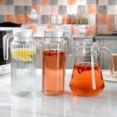 涼水壺套裝耐高溫冷水壺套裝家用玻璃水壺耐熱大容量涼水杯6只裝