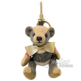 茱麗葉精品【全新現貨】BURBERRY 8003330 Thomas 格紋泰迪熊鑰匙圈吊飾.卡其