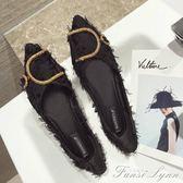 網紅同款鞋秋季新款韓版百搭尖頭單鞋平底淺口瓢鞋船鞋女鞋子 范思蓮恩