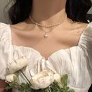 CHOKER輕奢小眾復古INS簡約雙層珍珠項鏈女潮鎖骨鏈頸帶脖子飾品