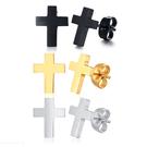 《QBOX 》FASHION 飾品【ES-214】精緻個性經典單色十字架鈦鋼插式耳環(三色)