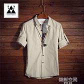 七分袖襯衫男短袖韓版修身亞麻襯衣男士中袖衣服青少年寸衫夏季潮