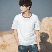 春夏韓版短袖T恤男個性口袋假兩件五分袖t恤青少年潮休閒