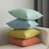 抱枕 純色亞麻抱枕靠墊客廳沙發靠枕女簡約現代大靠背床頭抱枕套不含芯 風馳