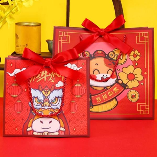 牛年春節禮品袋新年喜慶福牛紅色手提紙袋年貨送禮過年禮物包裝袋【庫奇小舖】