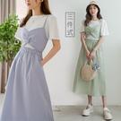 現貨-MIUSTAR 三件式!白Tee+細肩扭結背心+格紋中長裙(共3色)【NJ1789】
