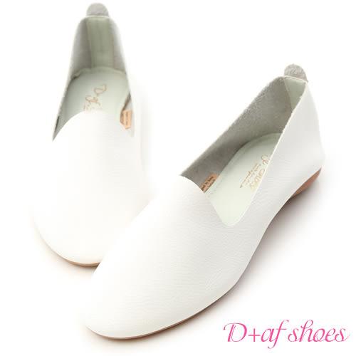 小白鞋 D+AF 輕盈首選.超軟皮革豆豆底樂福鞋*白