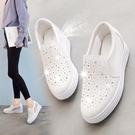 一腳蹬休閒懶人樂福鞋厚底百搭韓版內增高透氣小白鞋女鞋 黛尼時尚精品