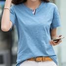 竹節棉t恤女裝2021年夏裝新款T桖純棉寬鬆韓版大碼上衣短袖體恤衫 果果輕時尚